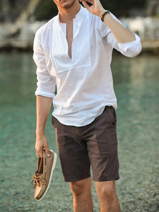 Men V Neck Solid Shirt