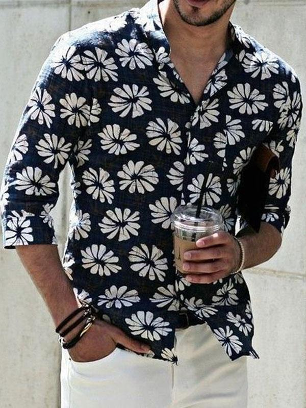 Men Floral Printed Hippie Style Shirt