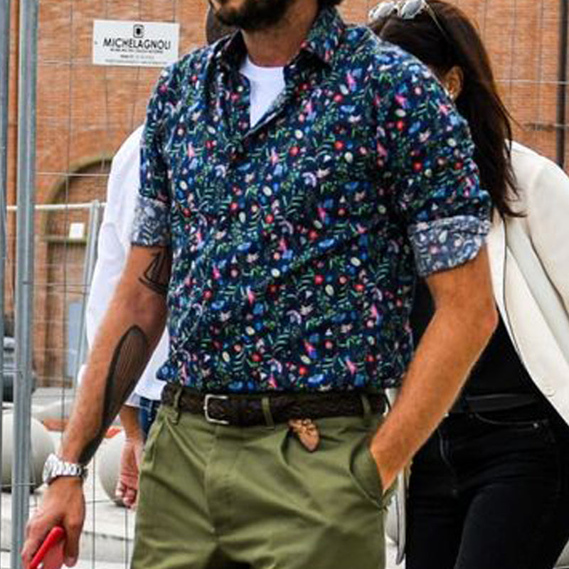 Men Street Style Floral Long Sleeves Shirt