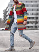 Load image into Gallery viewer, Men Multi Colored Casual Long Sleeves Coat