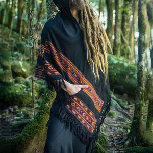 Men Hooded Poncho Boho Style Cloak