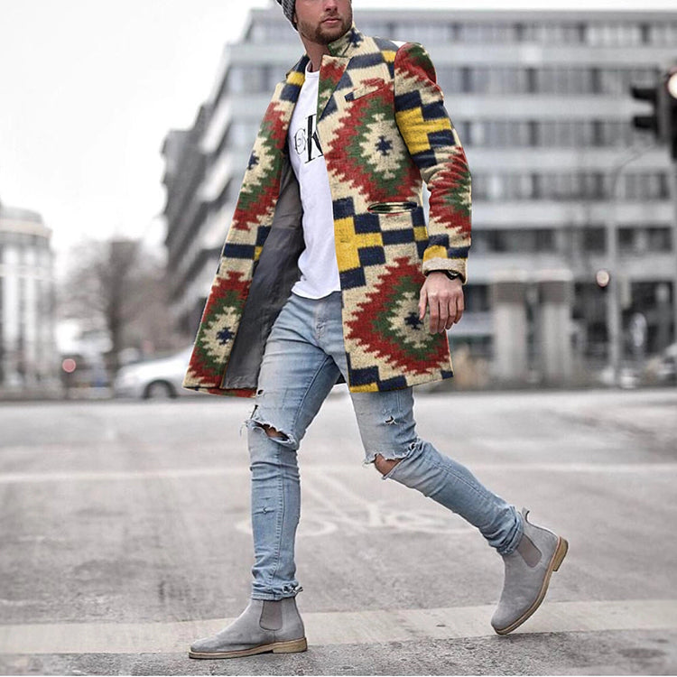 Men Color-Block Print Outerwear Coat