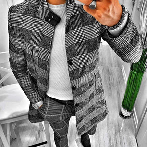 Men Stand-Neck Plaid Long Sleeve Coat