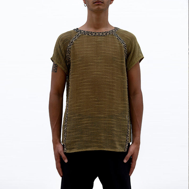 Men Solid Frayed Style Short Sleeves T-Shirt