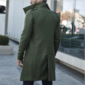 Men Lapel Solid Outerwear Coat