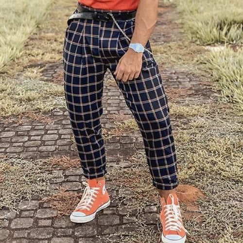 Men Casual Business Tapered Plaid Pants