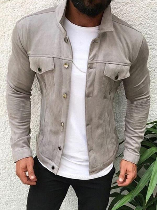 Men Fashion Pure Color Jacket