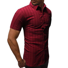 Load image into Gallery viewer, Men Lapel Striped Short Sleeves Shirt