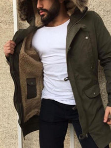 Men Hoodie Mid-Length Overcoat