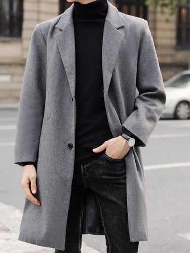 Men Lapel Cardigan Coat