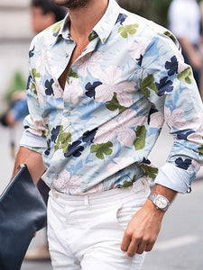 Men Long Sleeves Lapel Floral Shirt