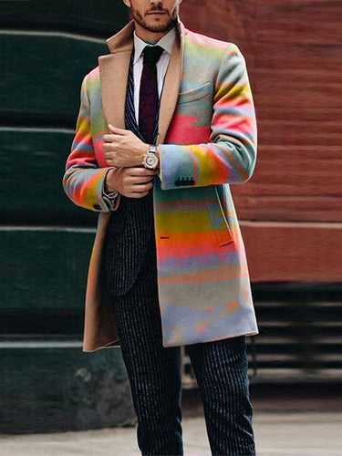Men Casual Printing Cardigan Coat