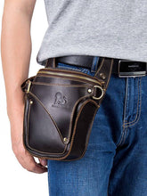 Load image into Gallery viewer, Solid Zipper Leather Multi-layer Waist Pocket