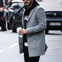 Load image into Gallery viewer, Men Winter Solid Color Lapel Coat