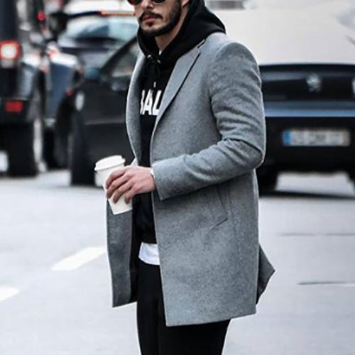 Men Winter Solid Color Lapel Coat