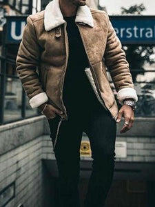 Men Fur Collar Lapel Suede Jacket Coat