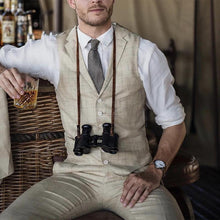 Load image into Gallery viewer, Men Lapel Herringbone Waistcoat