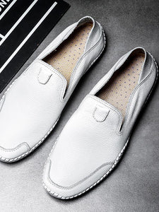 Solid Leather Soft Comfortable Flat  Loafers Shoes