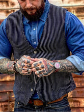Load image into Gallery viewer, Men Vintage Striped Herringbone Waistcoat