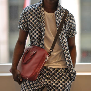 Men Polka-Dot Short Sleeve&Shorts Bottom Suit