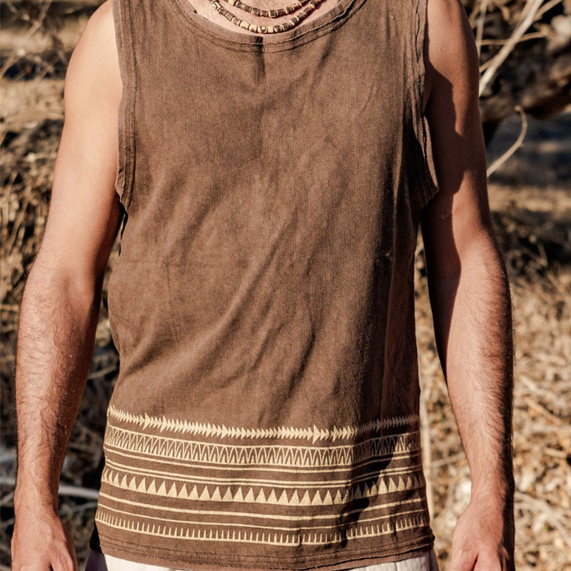 Men U-Neck Tribal Print Vest Top