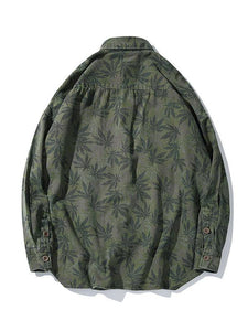 Men Tide Hemp Leaf Print Shirt