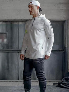 Men Zipper Collar Hoodie Sweatshirt