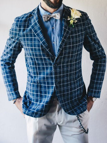 Men Revere Collar Formal Plaid Blazer