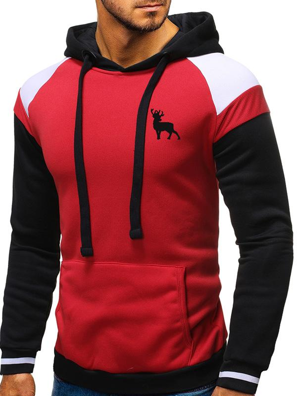 Men Lace-Up Color Block Hoodie Seatshirt