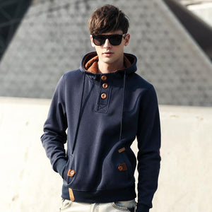 Men Breasted Collar Hoodie Sweatshirt