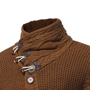 Men Horn Buckle Knitted Sweater Cardigan