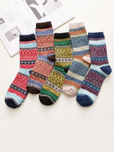 Load image into Gallery viewer, 5Pairs Folk-Custom Style Breathable Cotton Retro Socks