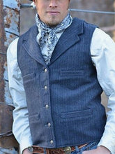 Load image into Gallery viewer, Men Lapel Button Herringbone Waistcoat