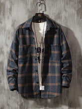 Load image into Gallery viewer, Flannel Plaid Printed Mens Long Sleeves Blouse&Shirt