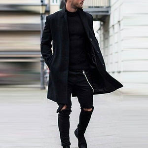 Men Revere Collar Solid Windbreaker Parka