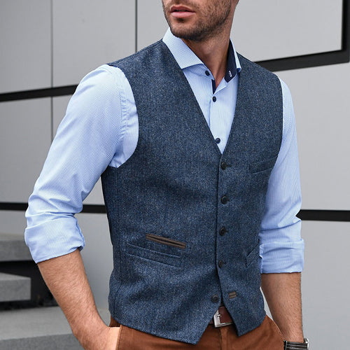 Men Single Breasted Casual Waistccoat