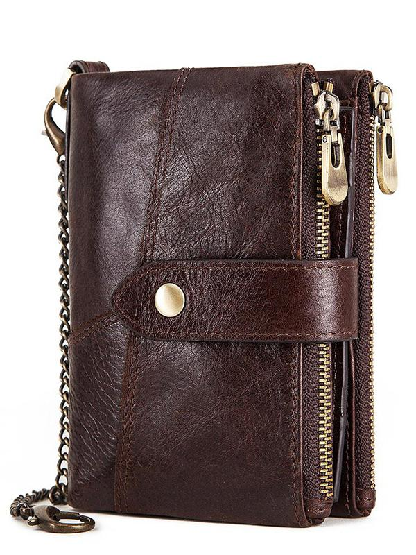 Solid Zipper Gentleman Wallet