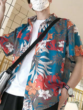 Load image into Gallery viewer, Men Printed Short Sleeves Blouse Shirt