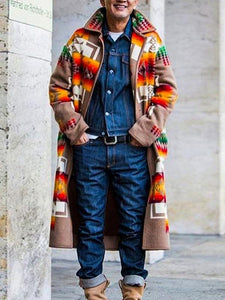 Men Fashion Printing Cardigan Coat