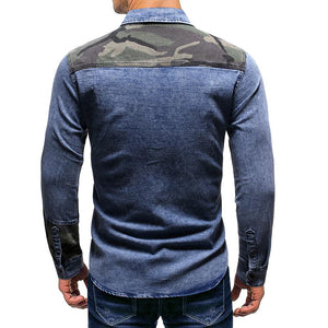 Men Lapel Denim Blouse Shirt