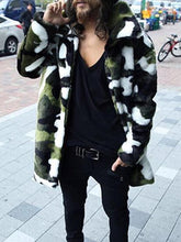 Load image into Gallery viewer, Men Faux Fur Camouflage Overcoat