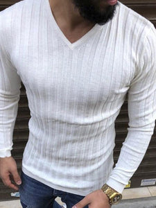 Men Pure Color V Neck T-Shirt