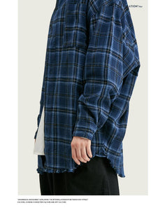 Men Casual Plaid Blouse Shirt