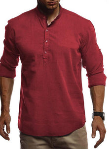 Men Pure Color Casual Polo Top