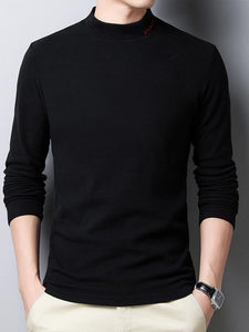 Men Solid Knitted Sweater Tops