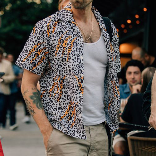 Men Street Style Leopard Printed Shirt