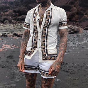 Men Ethnic Printed Holiday Two-Piece Suits