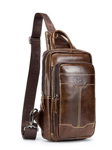 Solid Zipper Leather Casual Crossbody Bag