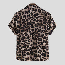 Load image into Gallery viewer, Men Leopard Print Half Sleeves Shirt