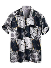Load image into Gallery viewer, Men Printed Lapel Short Sleeves Shirt